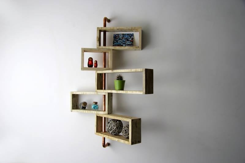 cool 3D pallet and metal pipe wall display shelves