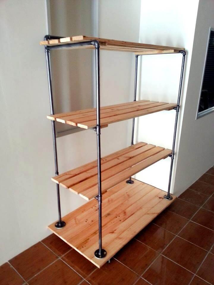 Stacked Shoe Rack: Pallet And Metal Pipe Storage Rack / Bookcase