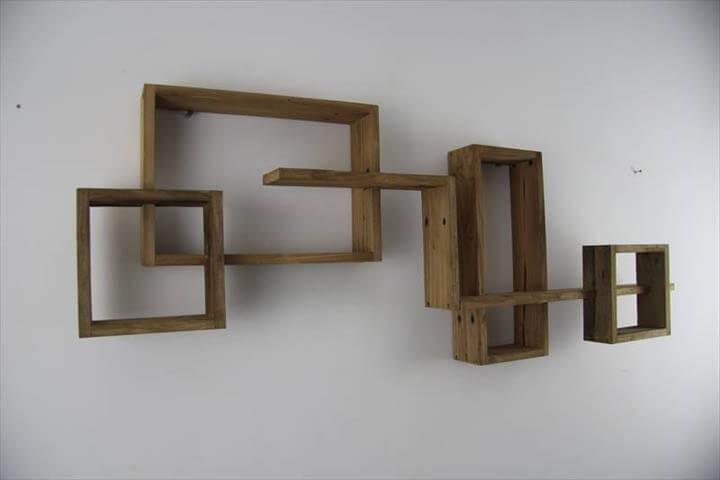 rustic pallet art style geometrical shelves