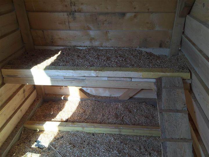 repurposed pallet chicken coop interior