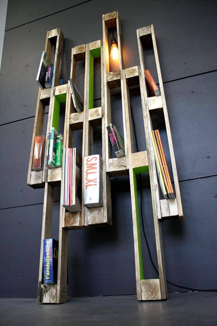 Recycled pallet creative shelf