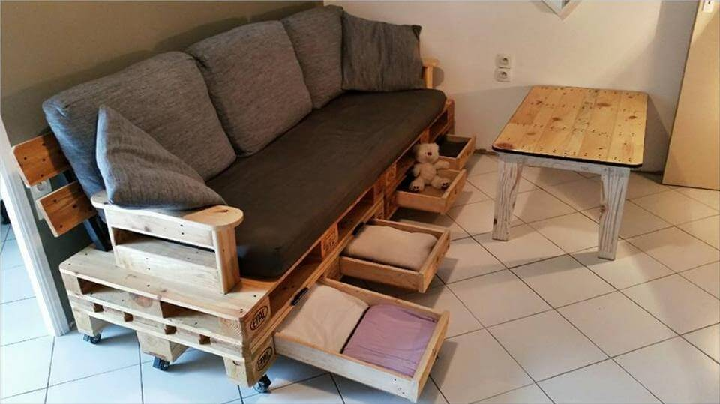 Pallet Sofa Plan With Drawers DIY Tutorial