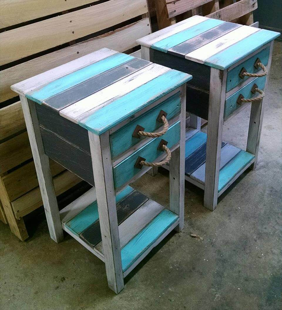 Rustic pallet end tables 99 pallets for Pallet end table