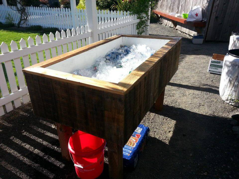 large wooden pallet icebox