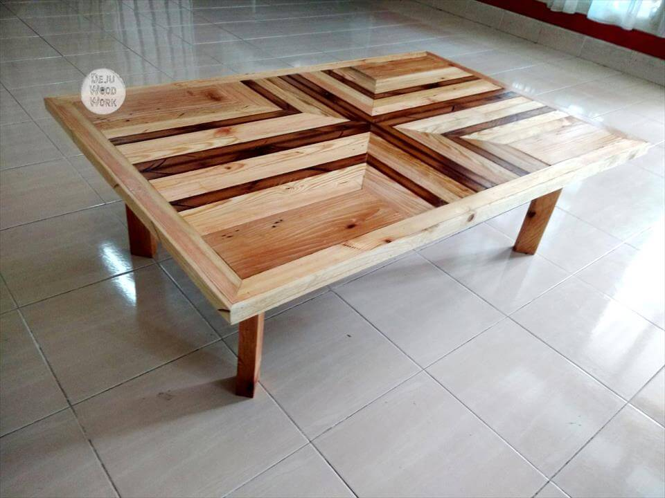 Pallet Coffee Table With Pattern Top 99 Pallets