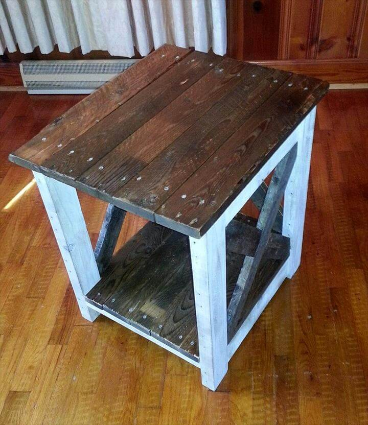 Upcycled wooden pallet side table pallets