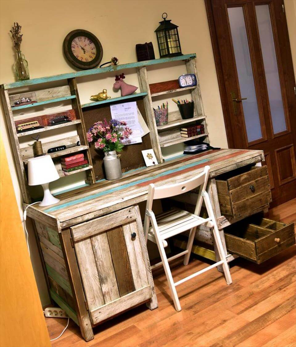Antique pallets wood desk with shelves - How to make table out of wood pallets ...