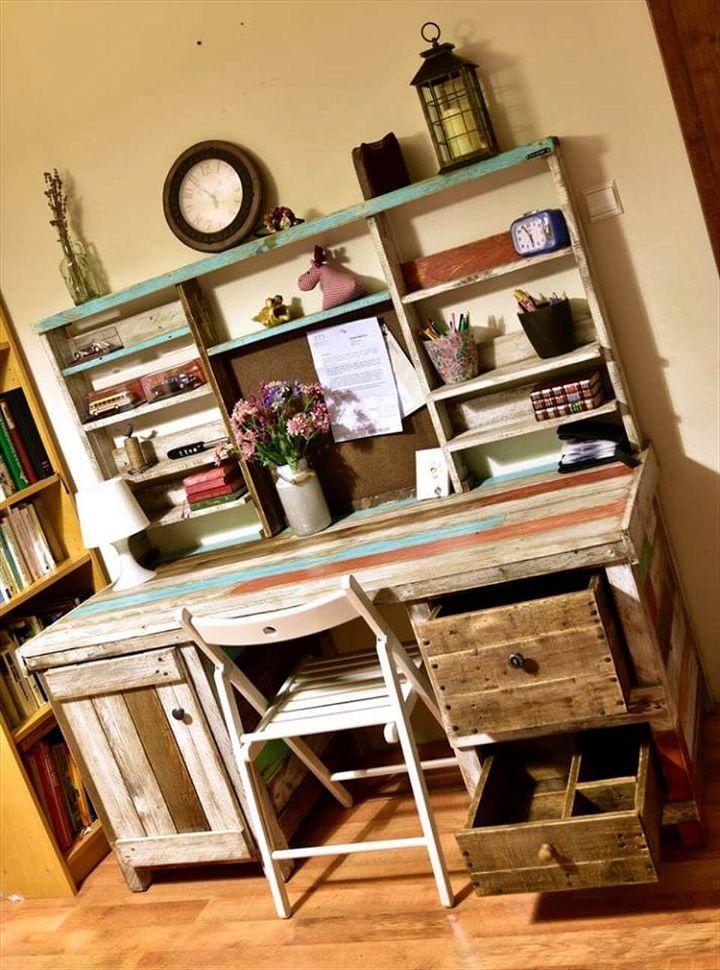 Antique Pallets Wood Desk with Shelves