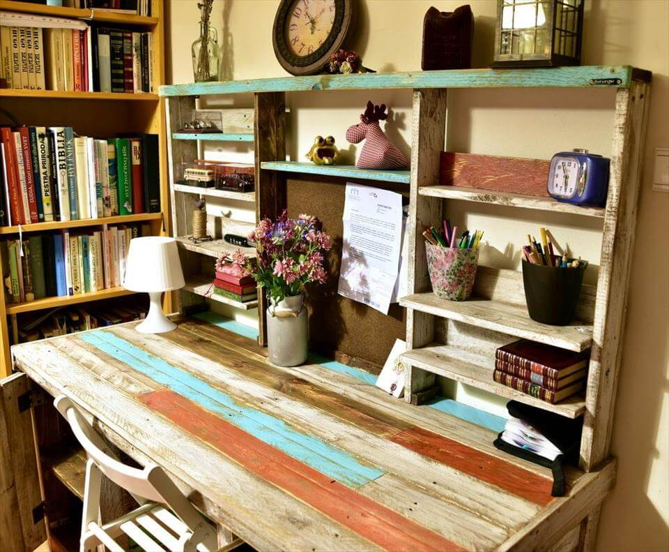 Repurposed pallet study desk or table