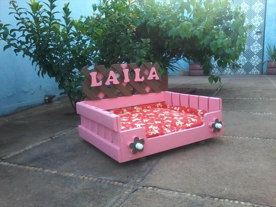 custom pink painted pallet dog bed