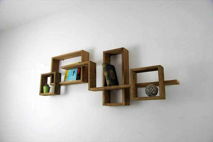 handcrafted wooden pallet art style shelves