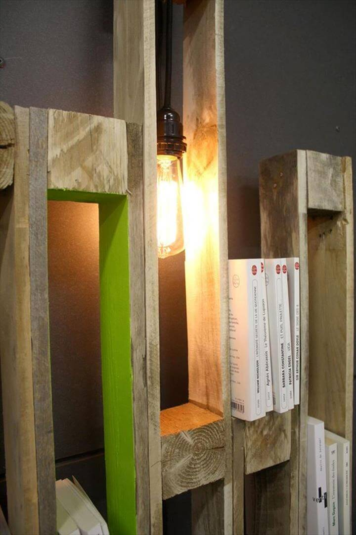 Repurposed pallet creative shelf