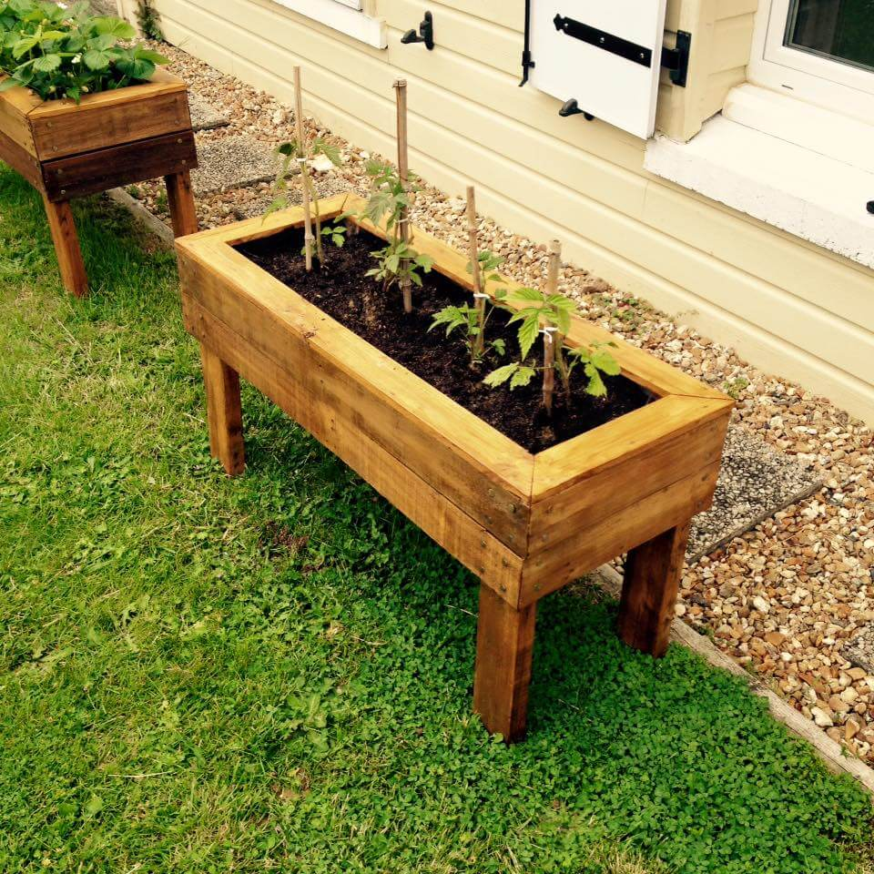 Planter boxes from pallets for Garden planters