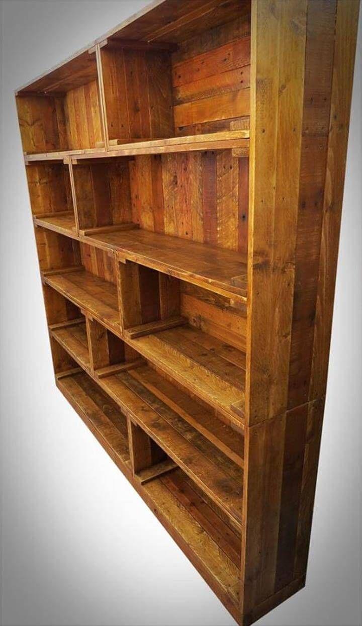 Antique Wooden Bookshelf ~ Antique pallet bookcase built in crate style