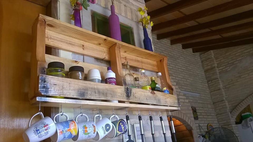 Diy Wall Mounted Pallet Kitchen Shelf | 99 Pallets