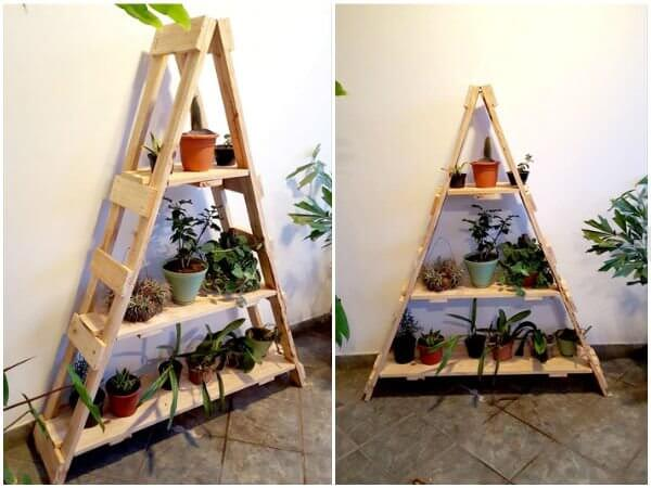 Wooden Pallet Ladder Shelf