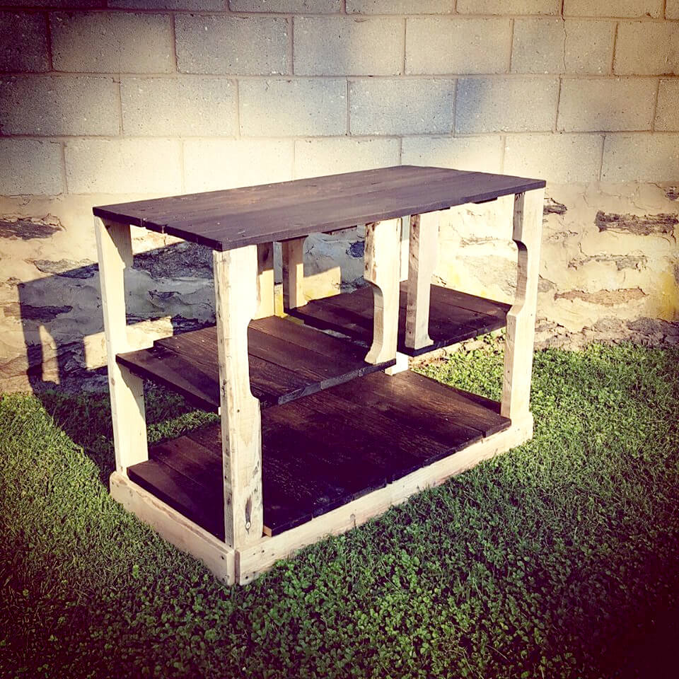 Pallet kitchen island diy - Handcrafted Wooden Pallet Dual Toned Kitchen Island Or Media Console