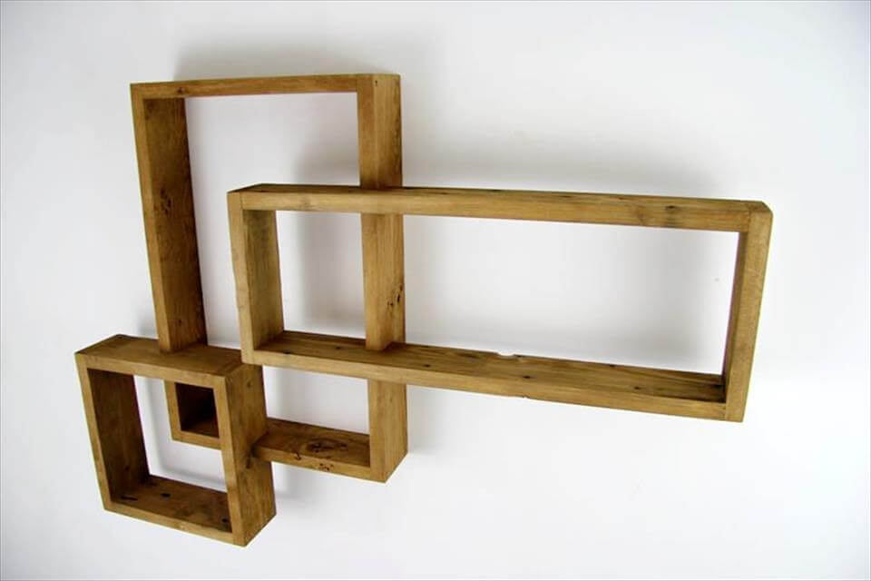 reclaimed pallet geometrical wall shelves