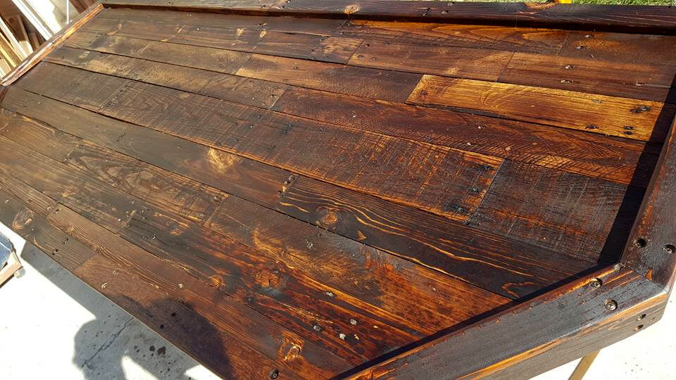 Recycled Pallet And Old Barrel Bar Table