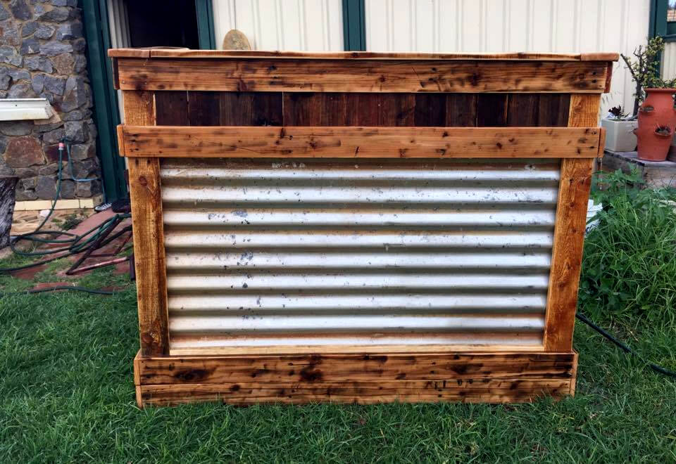 wooden pallet and old metal bar