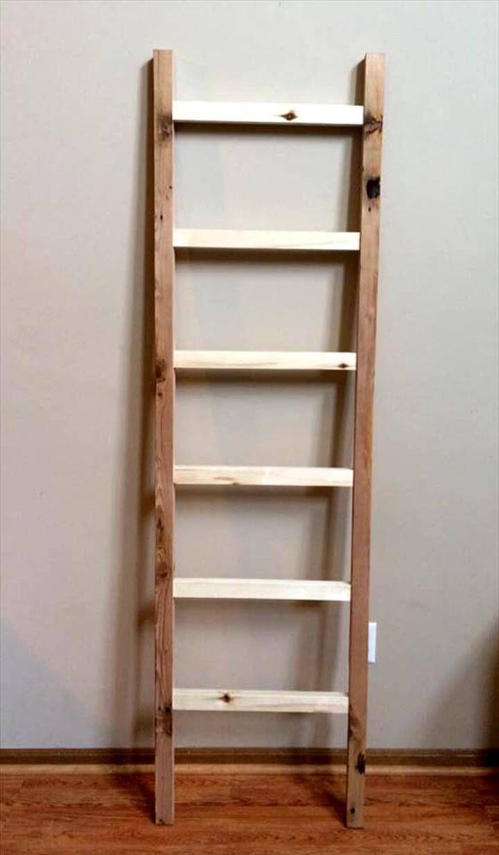 Diy Blanket Ladder Pallet Blanket Ladder Shelf 99 Pallets