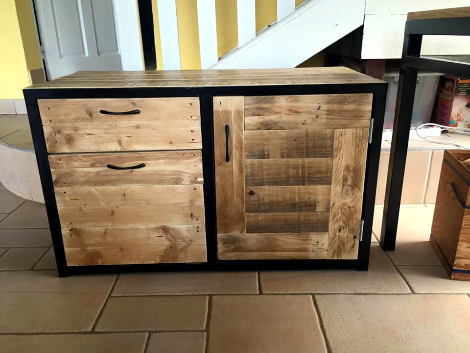 pallet and metal cabinet