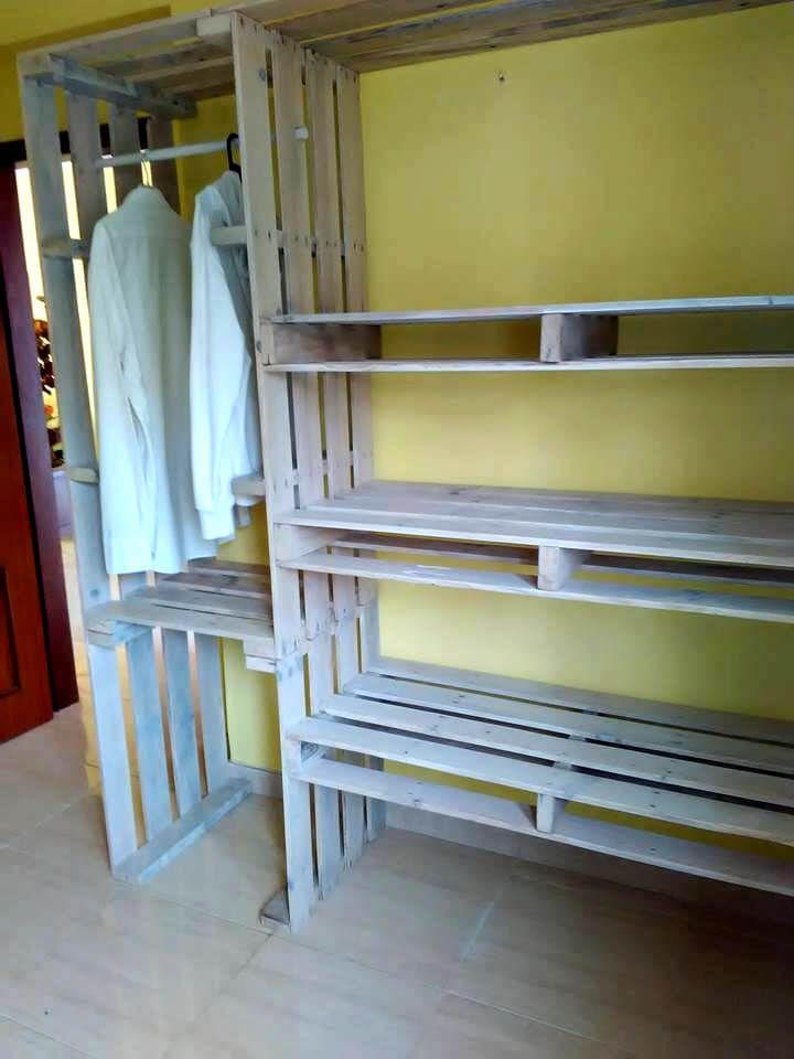 Pallet Closet Wardrobe Made From Pallets