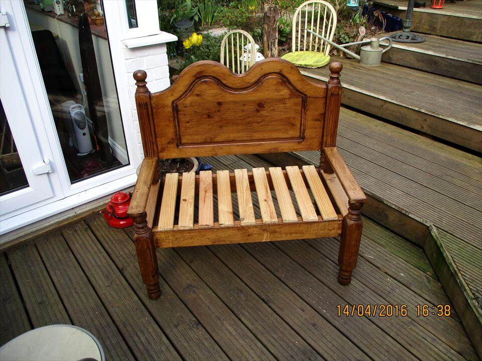 refurbished pallet old single bed into garden bench