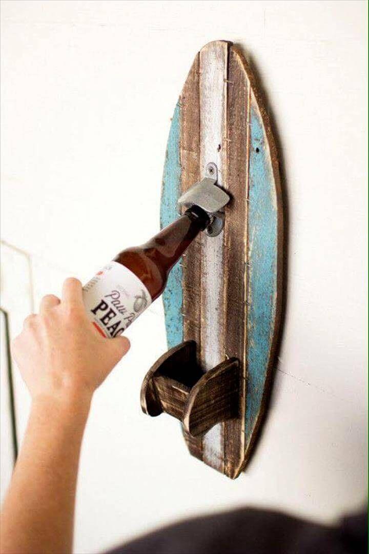 pallet surfboard bottle opener. Black Bedroom Furniture Sets. Home Design Ideas
