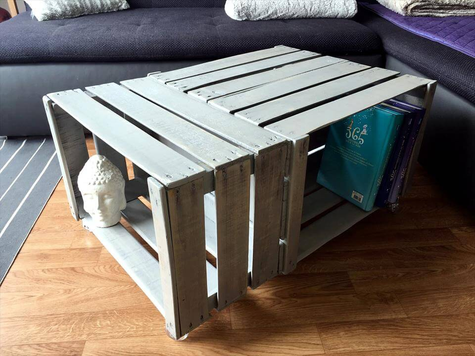 Pallet wood made crate coffee table 99 pallets for Coffee table made out of wooden crates