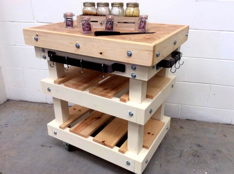 upcycled pallet butcher block style kitchen island