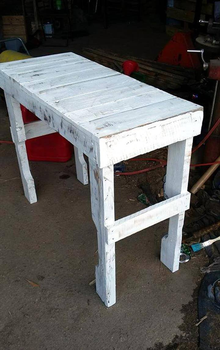 Custom White Pallet Console Table 99 Pallets