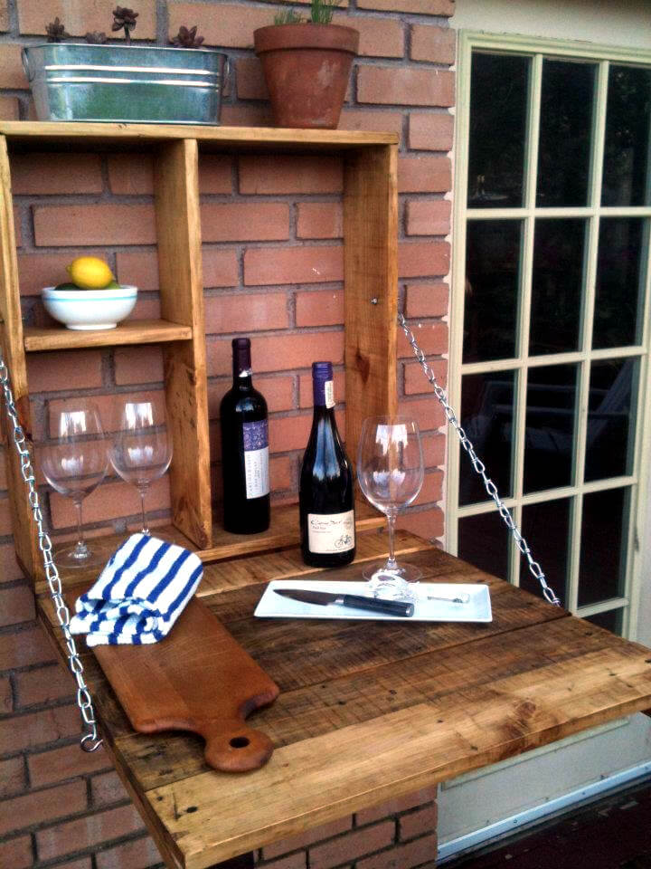 no-cost pallet outdoor wall hanging and folding down bar