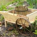 Pallet and Old Cart Wheel Garden Wheelbarrow