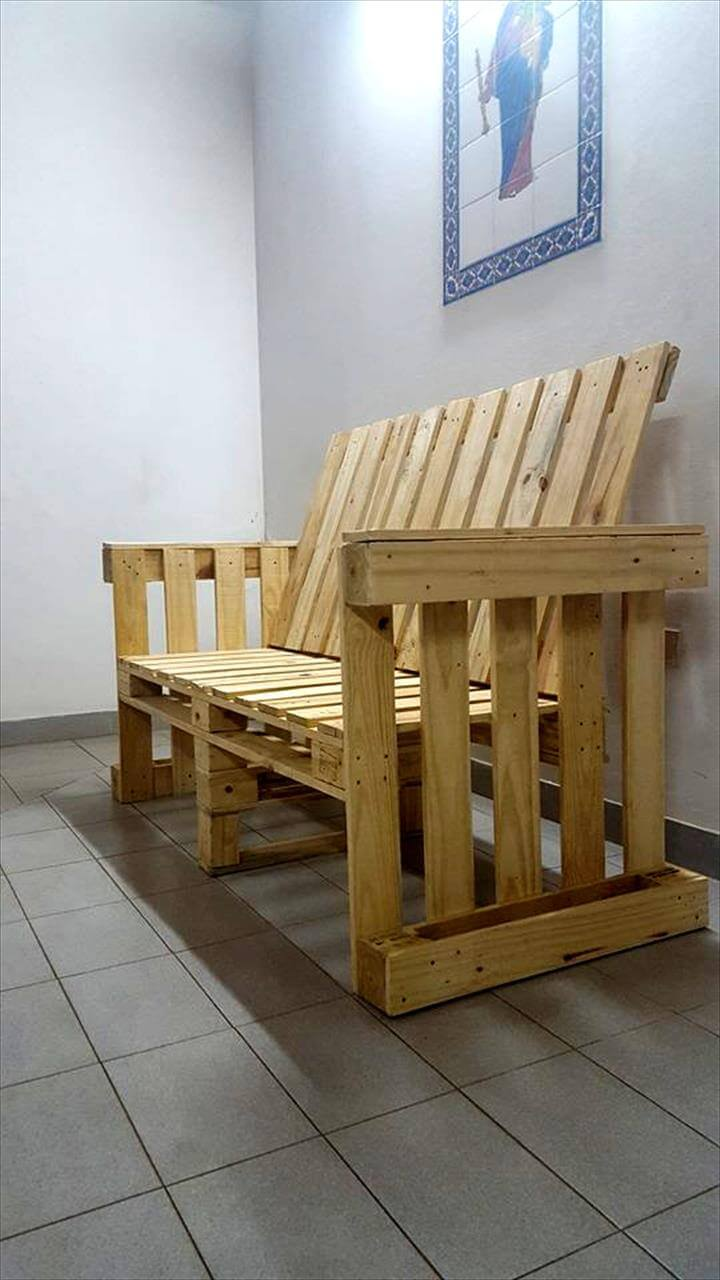 diy pallet bench with arms