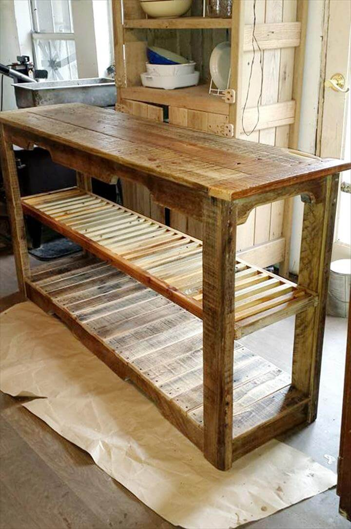 Multipurpose wooden pallet console table 99 pallets for Sofa table made from pallets