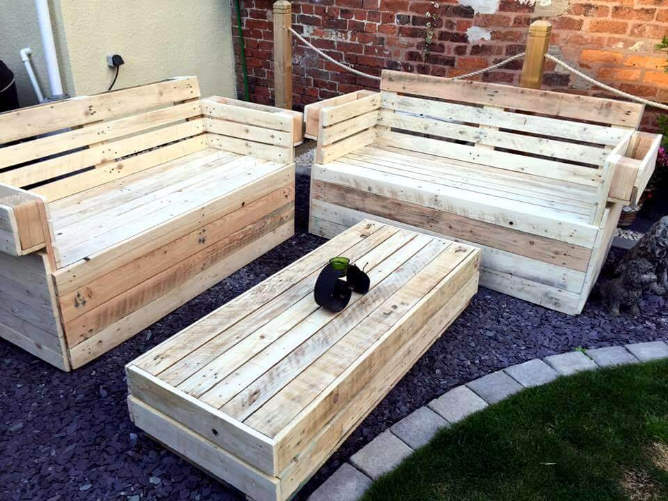 recycled pallet garden seating set - Garden Furniture Wooden Pallets