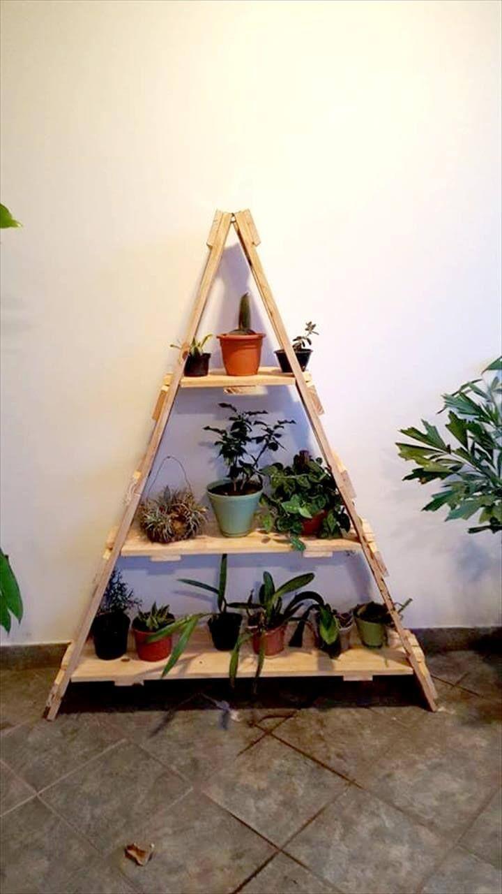 diy pallet ladder shelf