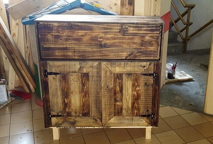 custom pallet stained cabinet