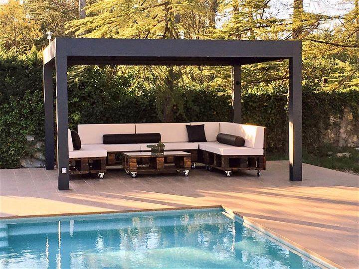 diy modern pallet poolside or terrace sofa set