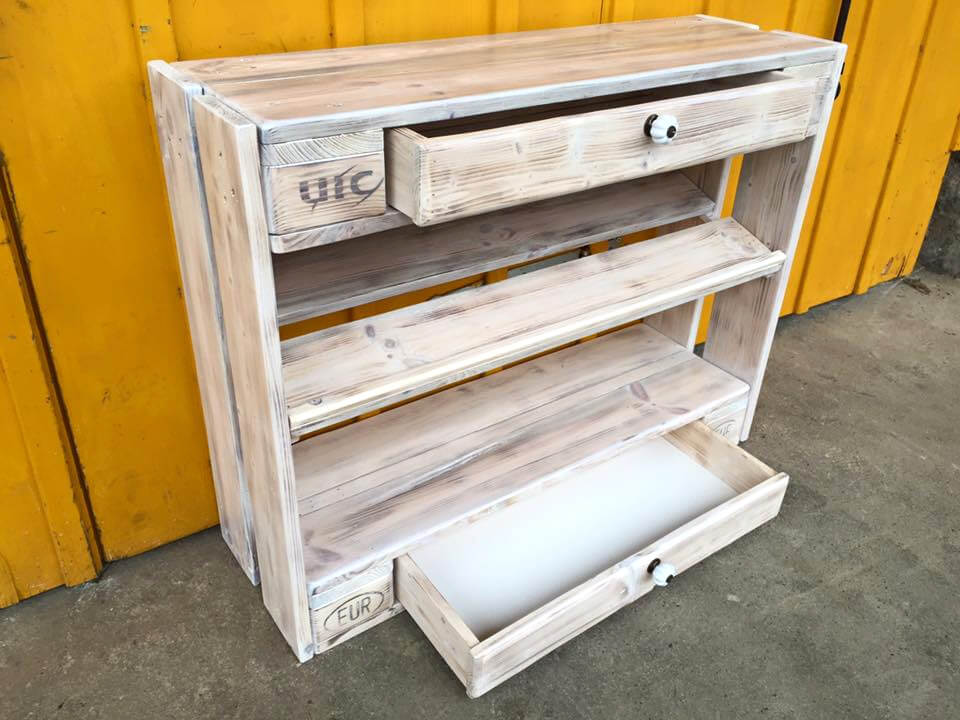 low-cost pallet shoes rack and chest of drawers