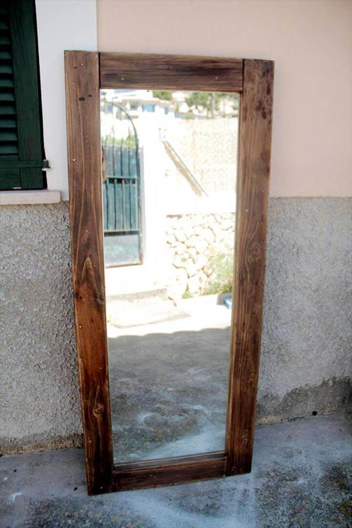 antique wood pallet mirror