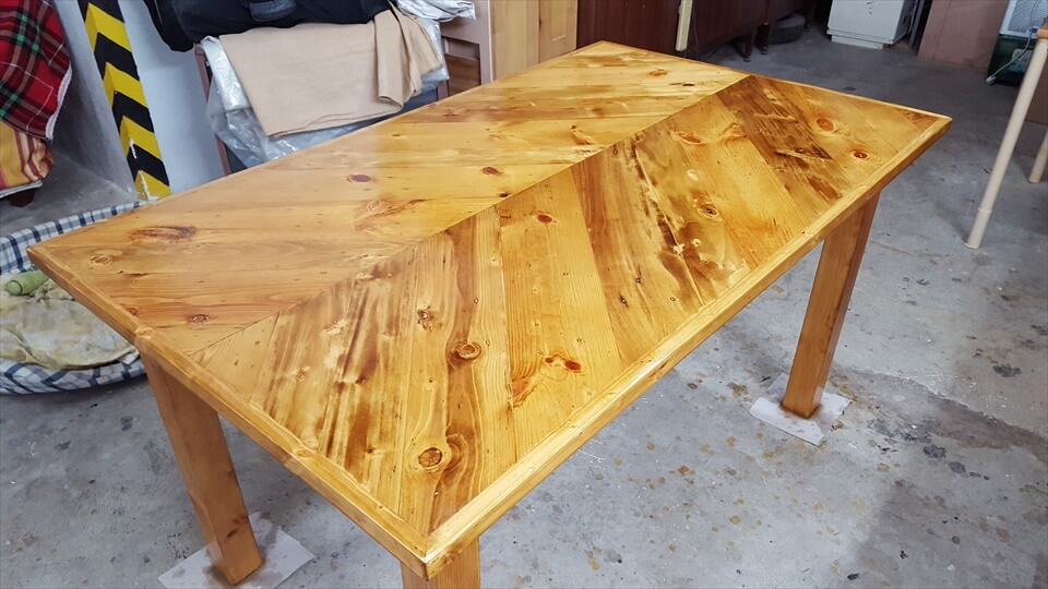 handcrafted wooden pallet chevron dining table