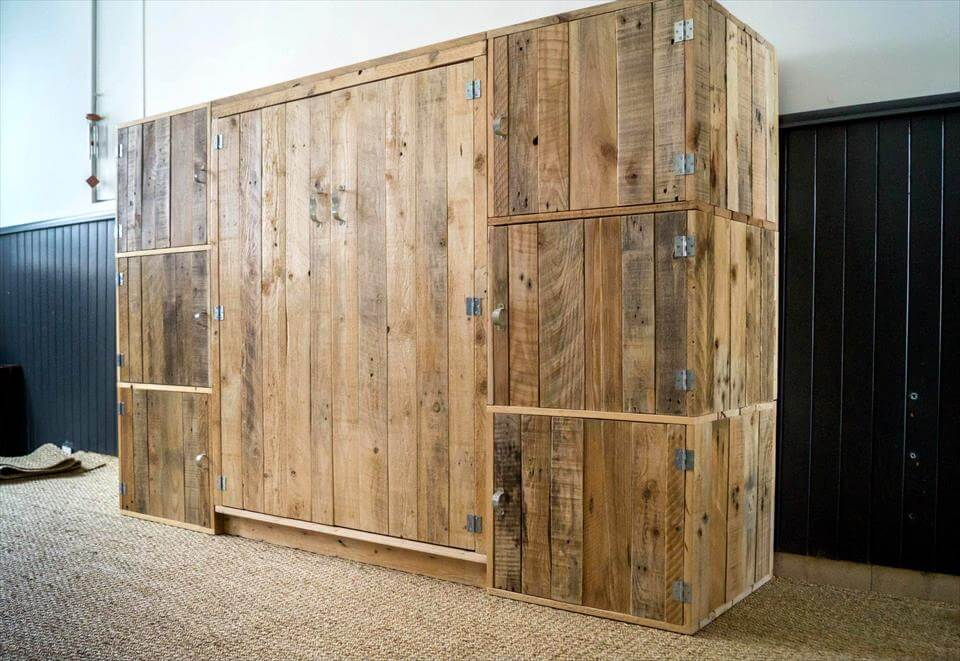 robust wooden pallet dressing room closet