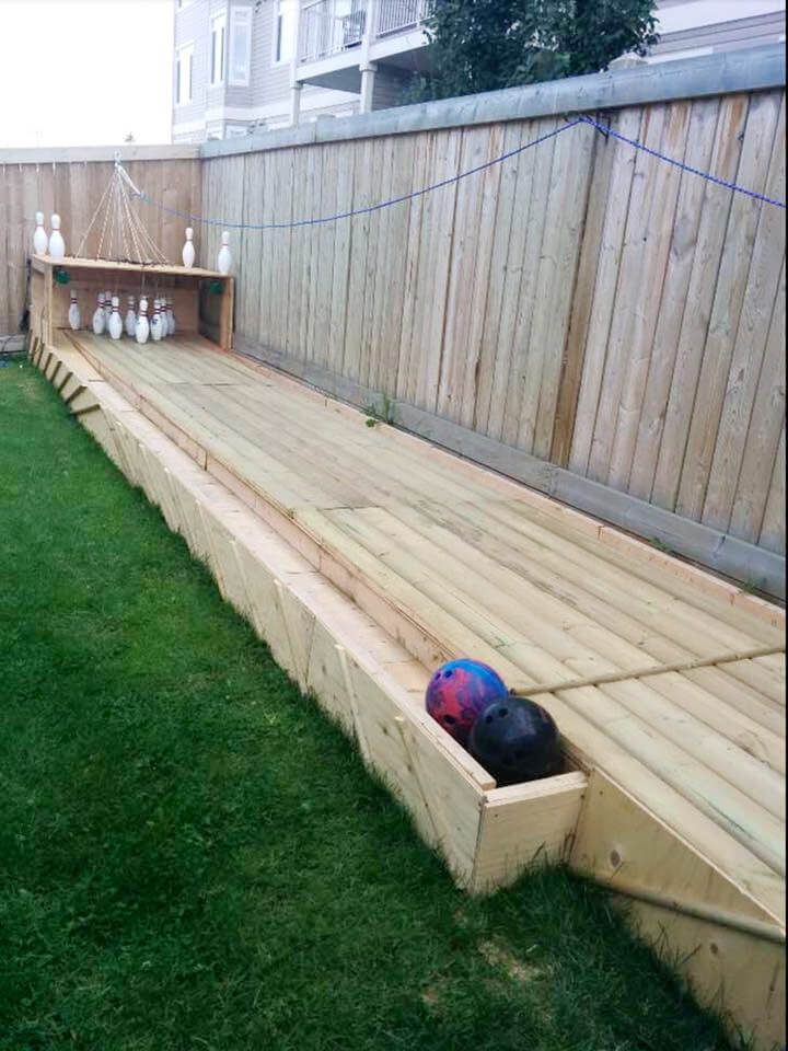 A full bowling alley platform made of pallets