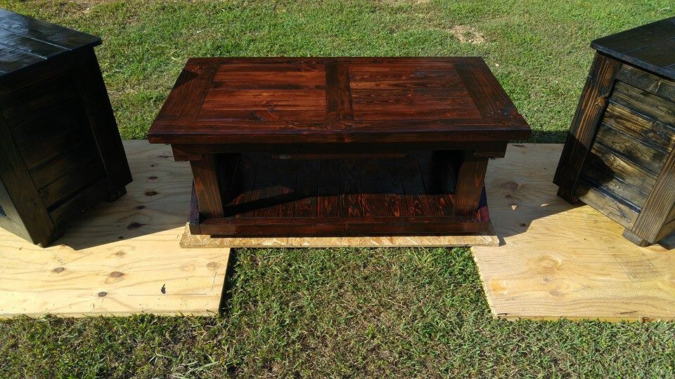 hand stained pallet coffee table