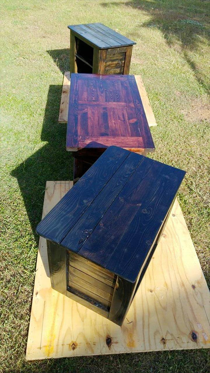 custom pallet coffee table and side tables set