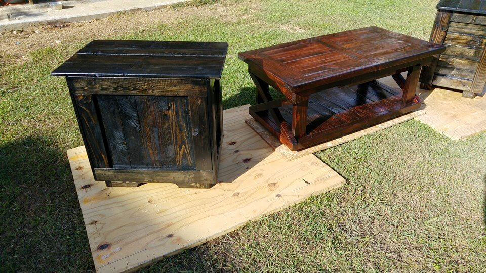 handmade wooden pallet coffee table and two mini tables set