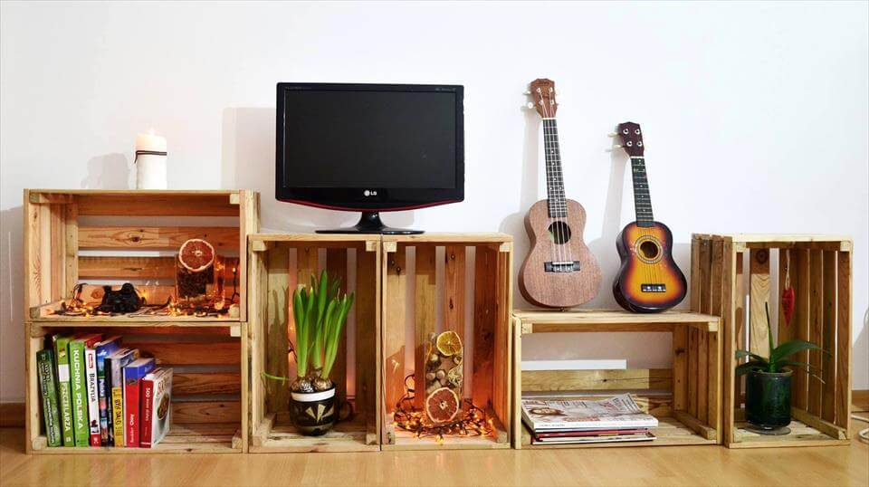 recycled pallet crate storage and display ideas