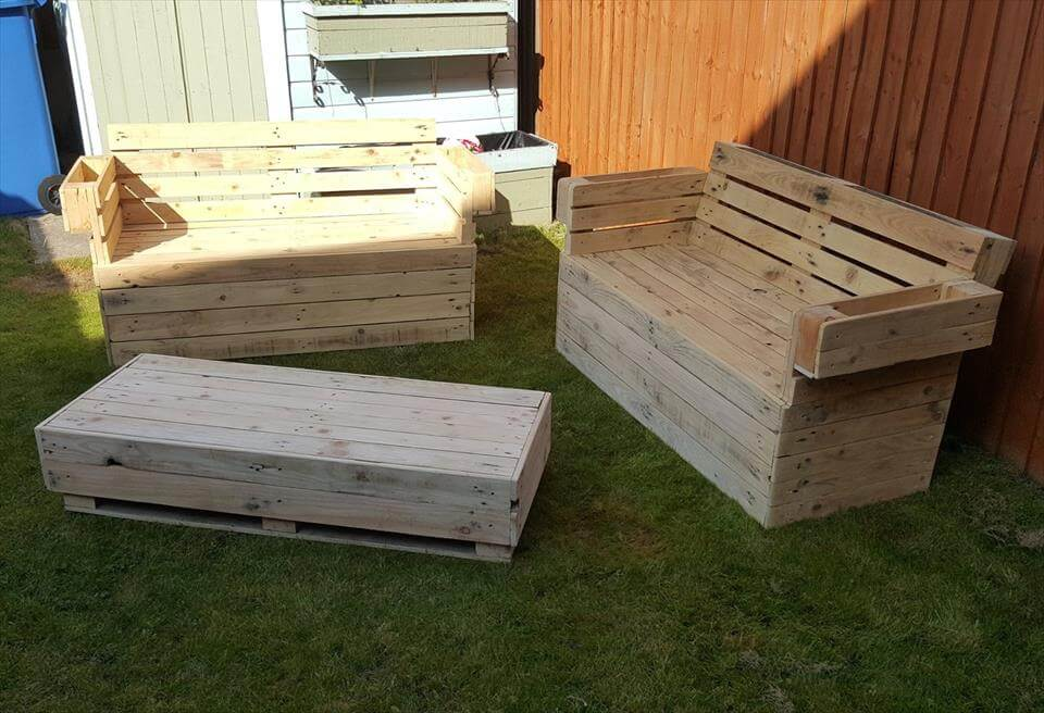 pallet garden seating set with planters
